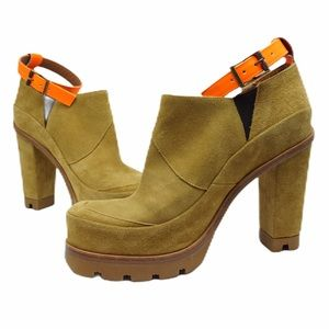 New Hunter suede booties with orange ankle strap